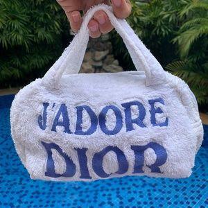 J'Adore Dior White Blue Terry Cloth Cosmetics Bag
